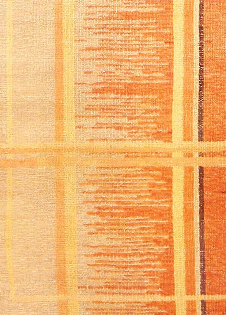 Art Deco orange, beige and brown hand knotted wool rug Size: 8'2