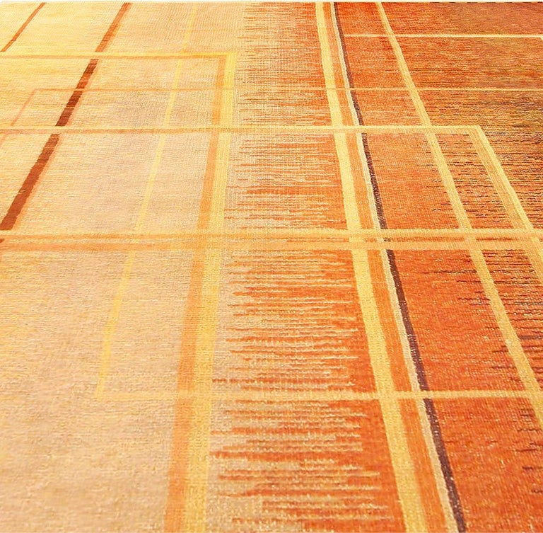 French Art Deco Orange, Beige and Brown Hand Knotted Wool Rug For Sale