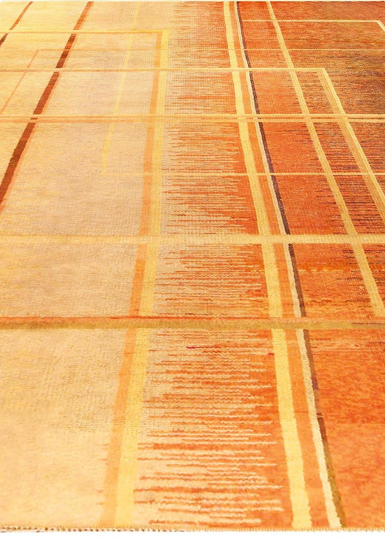 Hand-Knotted Art Deco Orange, Beige and Brown Hand Knotted Wool Rug For Sale
