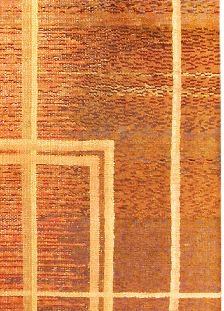 Art Deco Orange, Beige and Brown Hand Knotted Wool Rug In Good Condition For Sale In New York, NY