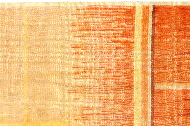20th Century Art Deco Orange, Beige and Brown Hand Knotted Wool Rug For Sale