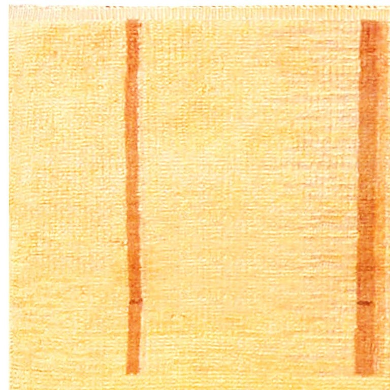 Art Deco Orange, Beige and Brown Hand Knotted Wool Rug For Sale 1