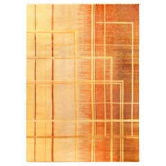 Art Deco Orange, Beige and Brown Hand Knotted Wool Rug
