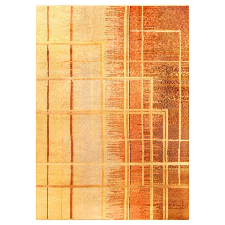 Art Deco Orange, Beige and Brown Hand Knotted Wool Rug For Sale