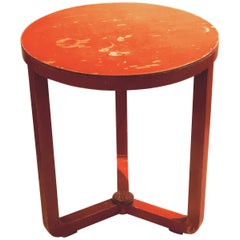 Art Deco Orange Patina Small Round Dutch Cocktail Table