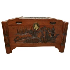 Art Deco Oriental Carved Camphor Wood Chest