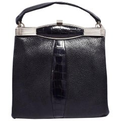 Art Deco Original 1930s Vintage Black Leather and Chrome Ladies Bag