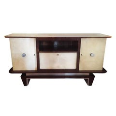 Art Deco Original French Sideboard in Parchment and Rosewood, 1930s