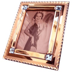 Art Deco Original Peach Mirrored Bevelled Glass Picture Frame, circa 1930