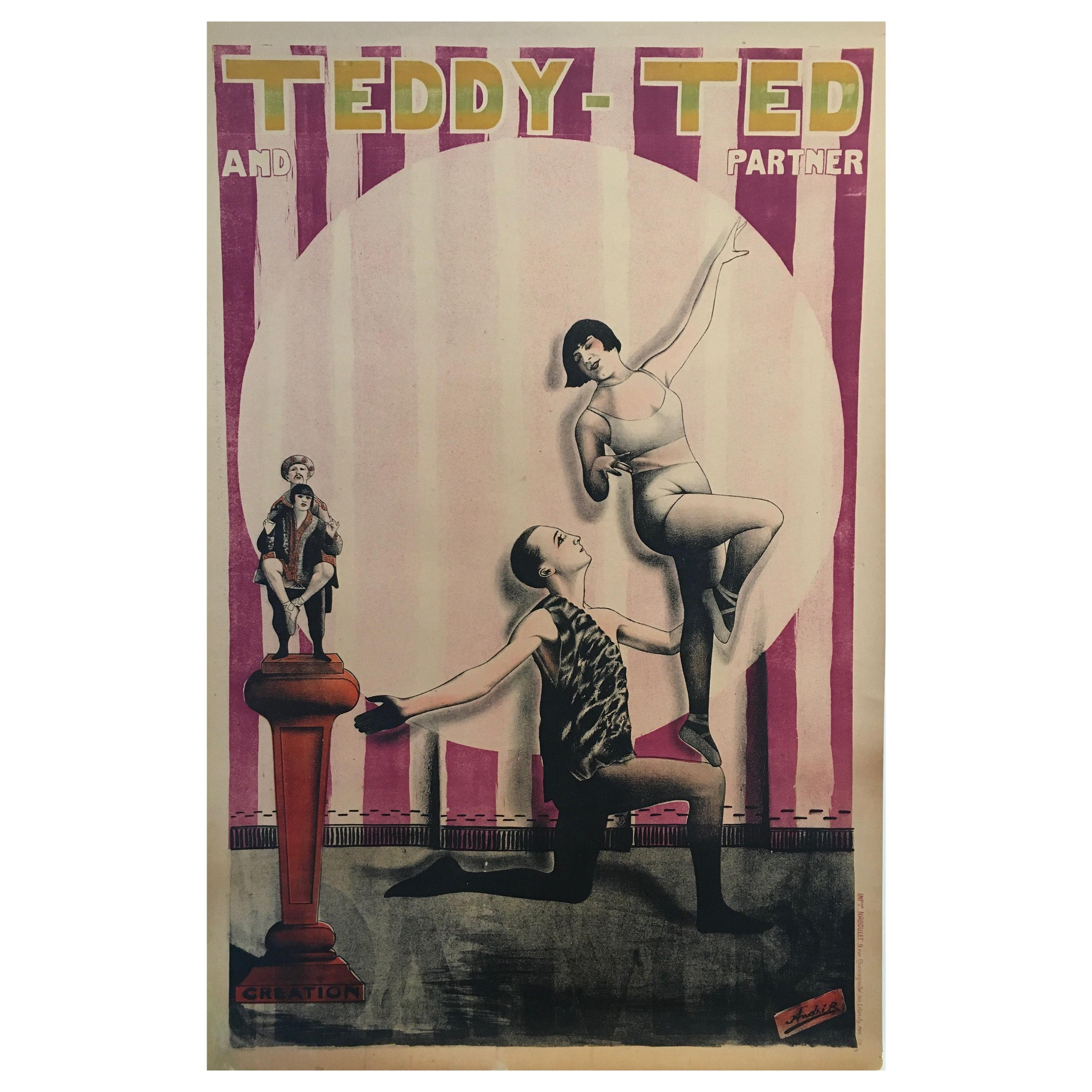 Art Deco Original Vintage French Circus Poster 'Teddy-Ted And Partner', 1926