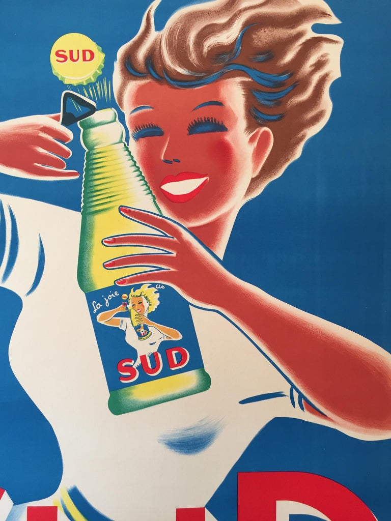 Art Deco Original Vintage French Lithograph Poster, 'SUD' by Bellenger, 1940 In Good Condition For Sale In Melbourne, Victoria