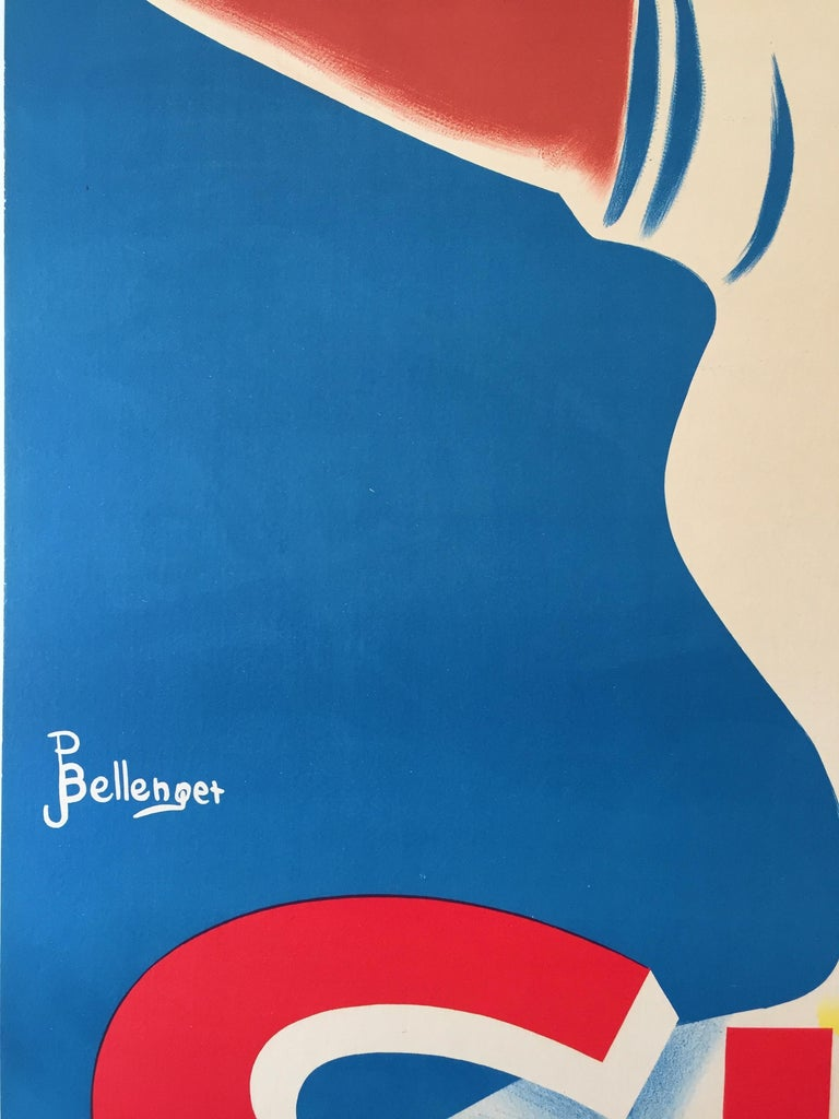 Mid-20th Century Art Deco Original Vintage French Lithograph Poster, 'SUD' by Bellenger, 1940 For Sale