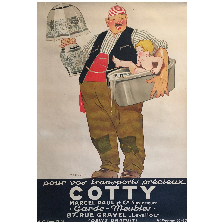 Art Deco Original Vintage French Poster, 'Cotty' by Rene Vincent, 1925