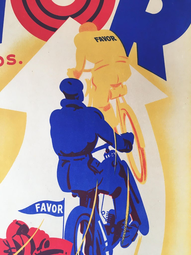 Art Deco original vintage motorcycle poster, FAVOR by Mathey 1934  This is an original vintage poster from 1934 advertising Favor motorcycles. This poster has been linen backed for preservation.   Condition: Excellent  Format:  Linen