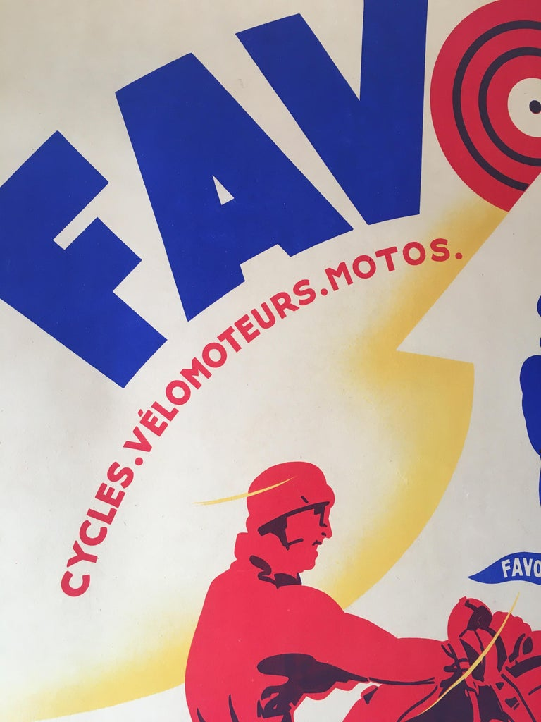 Mid-Century Modern Art Deco Original Vintage Motorcycle Poster, FAVOR by Mathey, 1934 For Sale