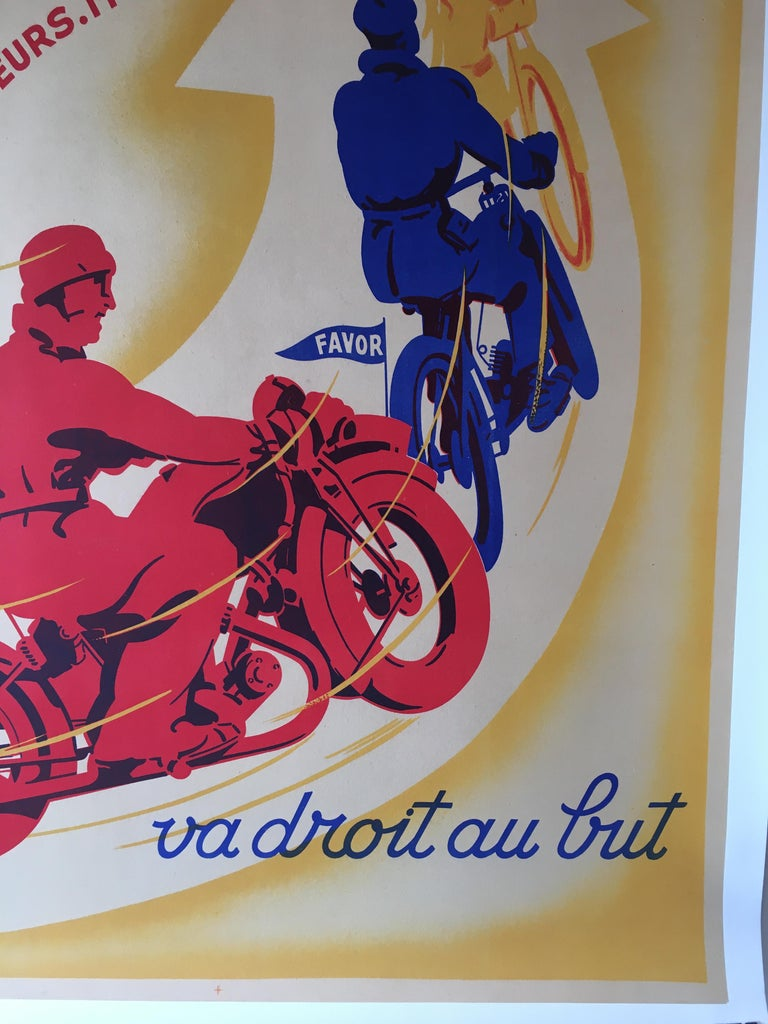French Art Deco Original Vintage Motorcycle Poster, FAVOR by Mathey, 1934 For Sale