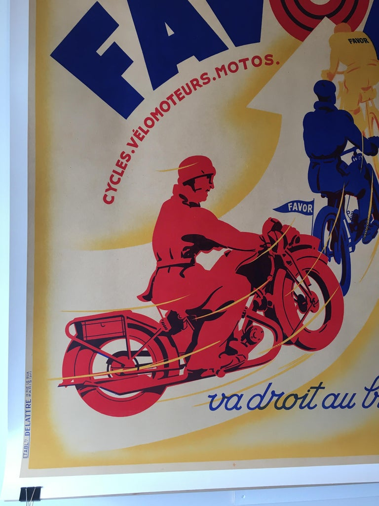 Art Deco Original Vintage Motorcycle Poster, FAVOR by Mathey, 1934 In Excellent Condition For Sale In Melbourne, Victoria