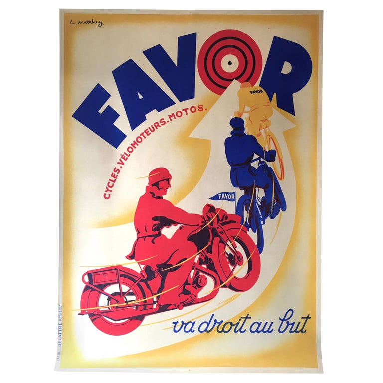 Art Deco Original Vintage Motorcycle Poster, FAVOR by Mathey, 1934 For Sale
