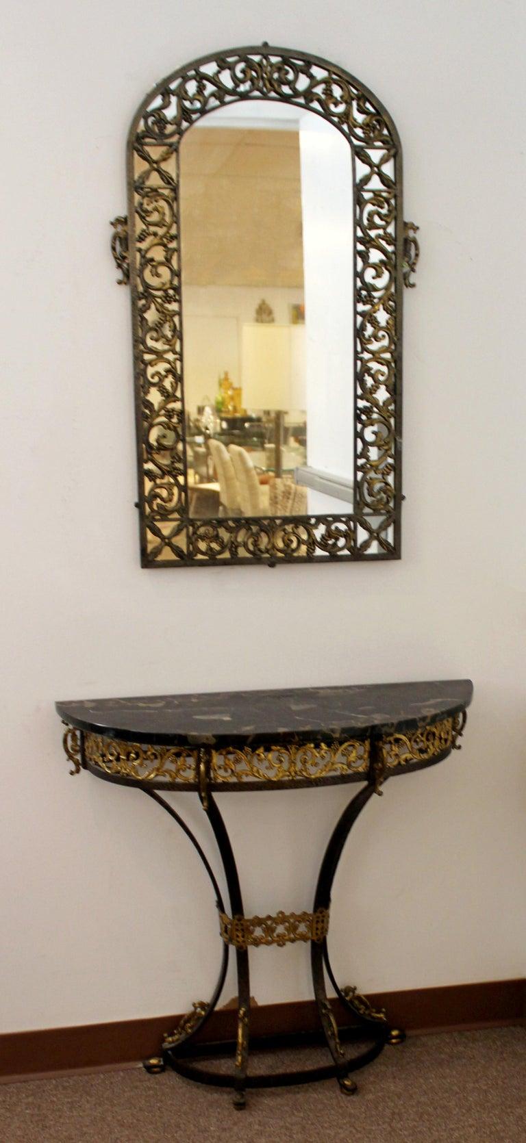 Art Deco Oscar Bach Mirror Marble Wrought Iron Console
