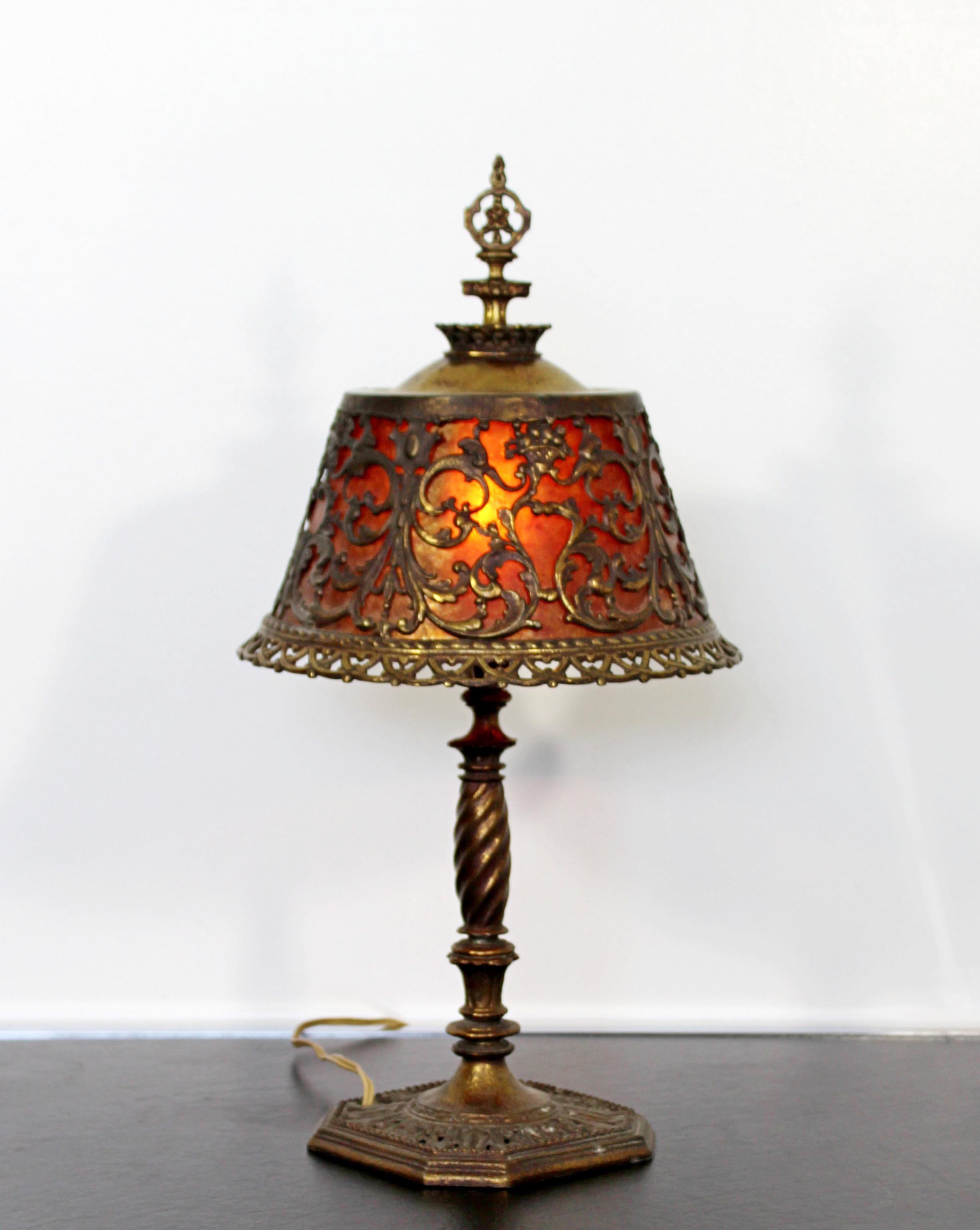 Amber Bach art deco oscar bach small bronze and amber glass ornate