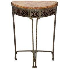 Art Deco Oscar Bach Style Verona Marble on Iron Demilune Hall Console Table
