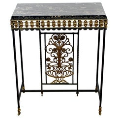 Art Deco Oscar Bach Wrought Iron and Black Marble Console Table, 1930s