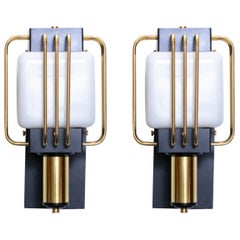 Art Deco Outdoor Pair of Sconces in Black Enamel and Brass