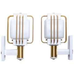 Art Deco Outdoor Pair of Sconces in White Enamel and Brass