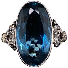 Art Deco Oval Aquamarine and Diamond Platinum Engagement Ring