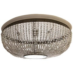 Art Deco Oval Basket Cut Crystal Chandelier by Carl Hiess Vienna Flush Mount