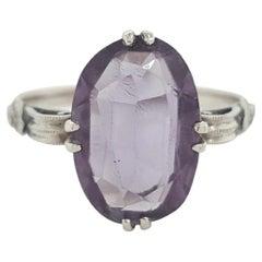 Art Deco Oval Cut Chrysoberyl Spinel 14 Karat White Gold Ring
