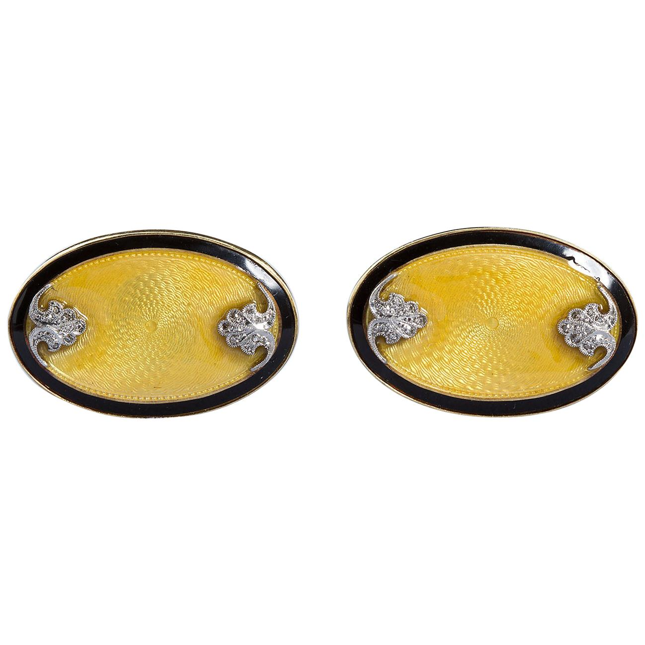 Art Deco Oval Diamond Gold Guilloche Cufflinks