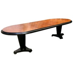Art Deco Oval Dining Table in Mahogany Wood with Black Ebonized Edge, 1940s