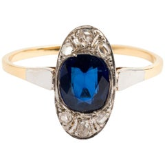 Art Deco Oval Fancy Sapphire and Diamond Cluster Ring, Est Total .060 Carat