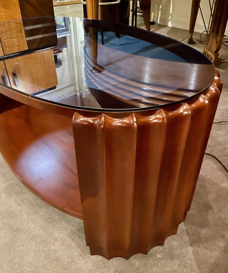 American Art Deco Oval Shaped Faceted Coffee Table Glass Top For Sale