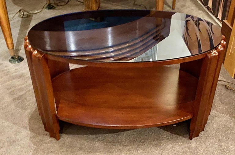 Art Deco Oval Shaped Faceted Coffee Table Glass Top In Good Condition For Sale In Oakland, CA