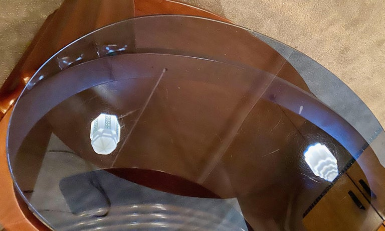 Art Deco Oval Shaped Faceted Coffee Table Glass Top For Sale 2