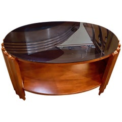 Art Deco Oval Shaped Faceted Coffee Table Glass Top
