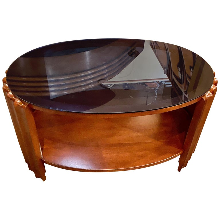 Art Deco Oval Shaped Faceted Coffee Table Glass Top For Sale