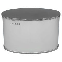 Art Deco Oval Sterling Silver Biscuit Box by Hukin & Heath Birmingham, 1927
