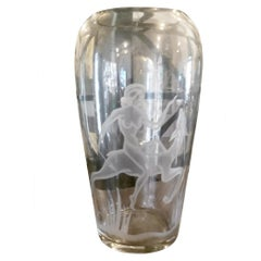 Art Deco Oversized Etched Glass Vase