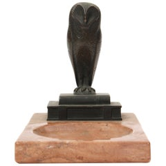 Art Deco Owl Ashtray in Bronze and Pink Marble