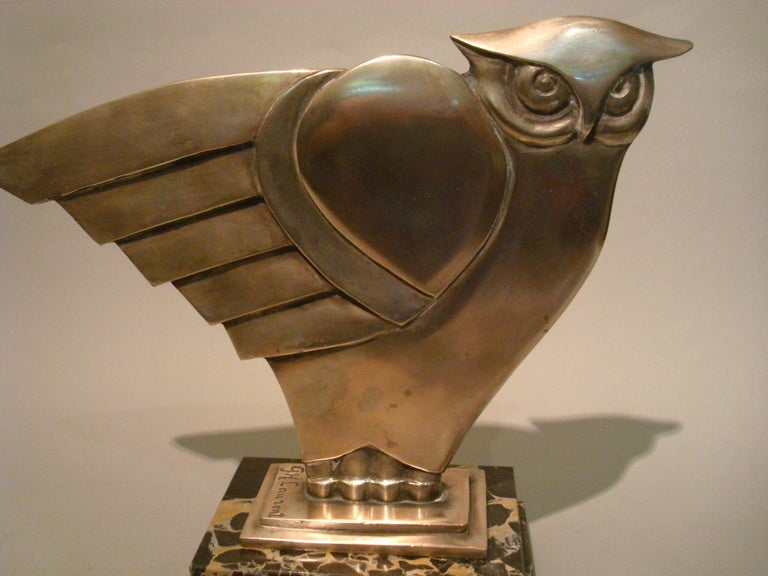 Art Deco owl silvered bronze sculpture, signed G.H. Laurent, and stamped France and 21.