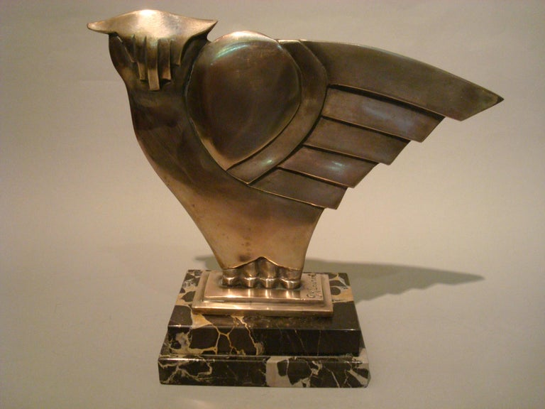 French Art Deco Owl Silvered Bronze Sculpture, G.H. Laurent, France, 1930 For Sale