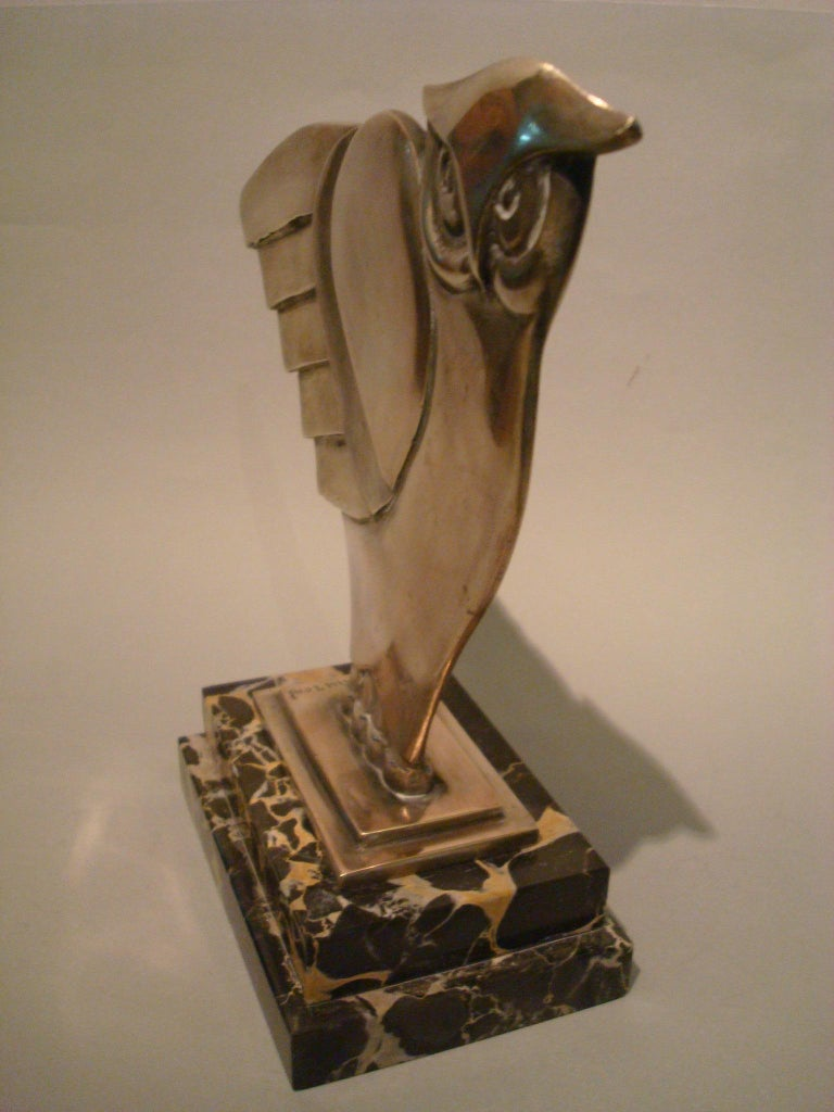 Art Deco Owl Silvered Bronze Sculpture, G.H. Laurent, France, 1930 In Good Condition For Sale In Buenos Aires, Olivos