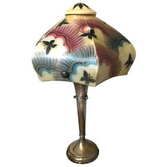 Art Deco Painted Butterflies on Opaline Glass and Metal Table Lamp, 1930s