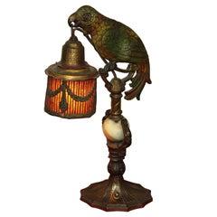 Art Deco Painted Parrot Lamps, circa 1920s