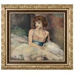 Art Deco Painting Ballerina Girl Pierre Ernest Kohl Dated 1935