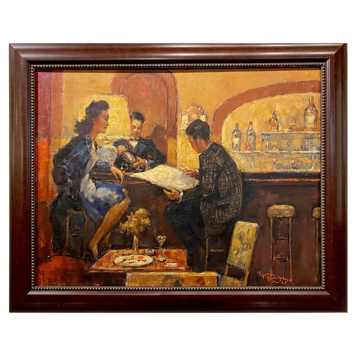 """Art Deco Painting by Georges Guinegault """"in a Bar"""" Oil on Canvas, 1945"""