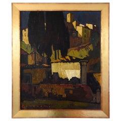 Art Deco Painting Italian Village Cesare Bonanomi 1930